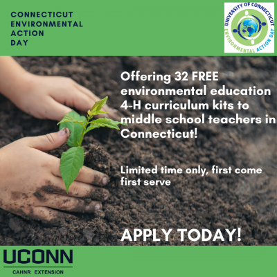 CEAD ad for curriculum kits, person planting seedling